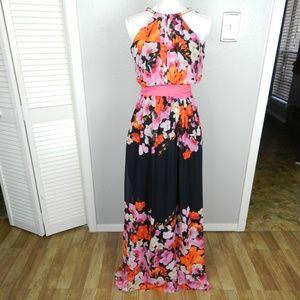 Eliza J Print Chiffon Halter Maxi Dress Size 10
